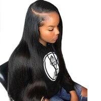 Предварительно сорванные прямые 360 парик с фронтальным кружевом с волосами младенца человеческие волосы парики для женщин 150% плотность бра