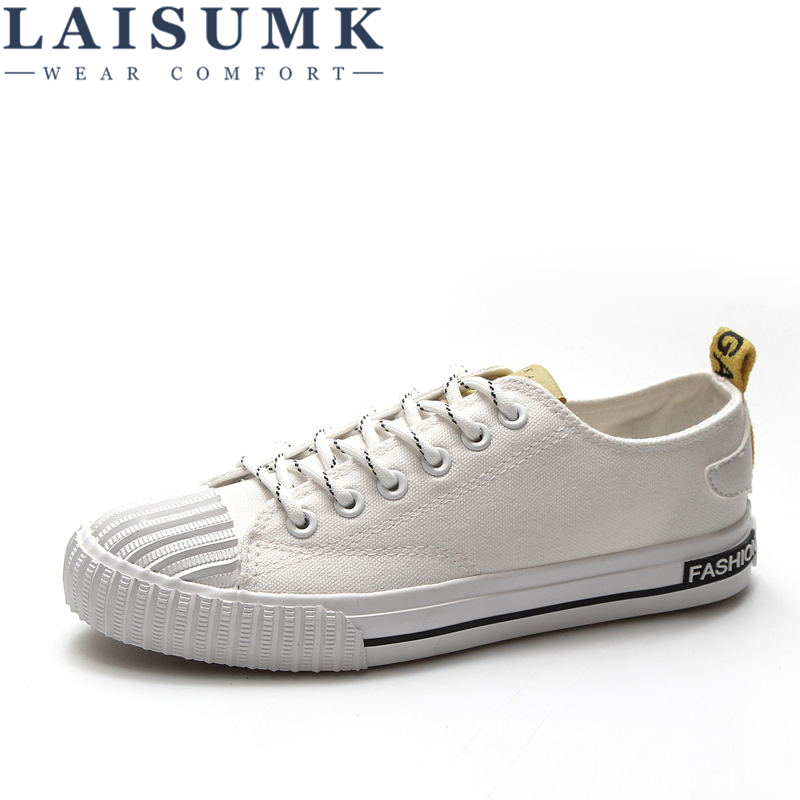 LAISUMK Women Spring Autumn Shoes 2019 Fshion Sneakers Solid Sewing Adult Canvas Woman Fabric Sapato Feminino Size 35-40