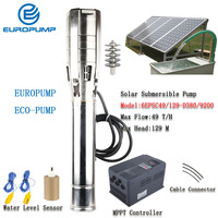 EUROPUMP Solar Pump 6Inch 12HP outlet 3 Max Lift 129M Flow 49000LPH DC Solar Water Pump With MPPT MODEL(6EPSC49/129 D380/9200)