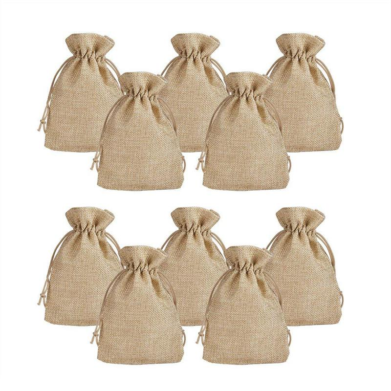 100pcs Burlap Packing Pouches Drawstring Bags 13x18cm Gift Bag Jute Packing Storage Linen Jewelry Pouches Sacks For Wedding Pa
