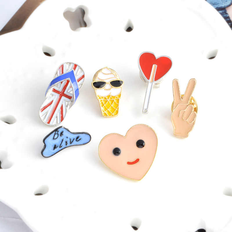 Lucu Awan Petir Flip Flop Ice Cream Balon Bros Tombol Pin Enamel Pin Lencana Fashion Kartun Perhiasan Hadiah