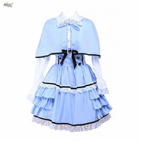 Ainclu XS XXL Womens Blue White Ladylike Cotton Long Sleeves Ruffled Cape Lolita Outfit/Dress For Casual/Party/Halloween
