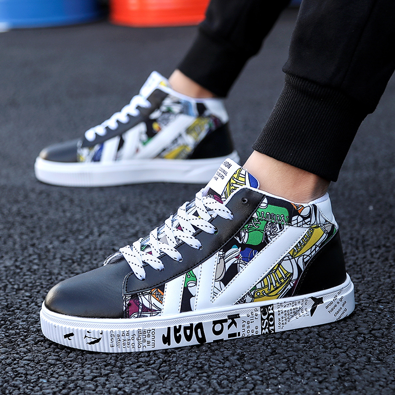 2019 Newest Colorful Mens Shoes Casual Wild Platform Vulcanized Shoes Trend Canvas High Top Sneakers White Red Sapato Masculino(China)