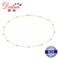 DAIMI 925 Sterling Silver Tin Cup Necklaces & Shiny Natural Freshwater Pearl Choker Best NEW YEAR Gift For Woman