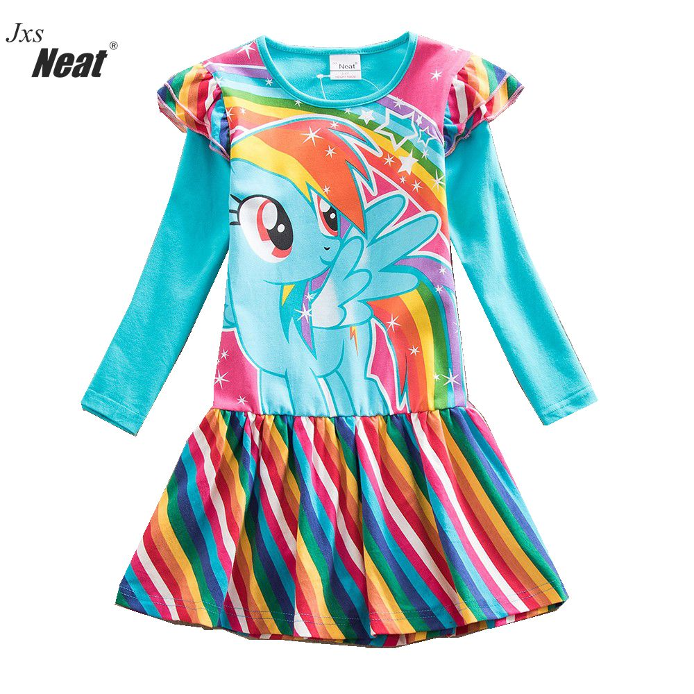 f72034241 Vestido de manga larga de otoño para niña a la moda para bebés, vestido de  algodón para niños, estampado de arco iris, niños de 3 a 8 años ropa ...