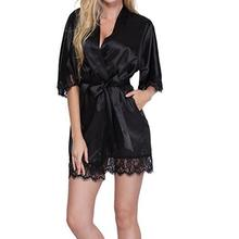 Sexy Bridesmaid Short Satin Bride Robe Lace Kimono Women Wed