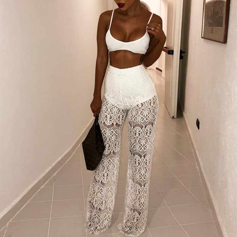 Embroidery White Hollow Out Women Sexy Lace Pants 2018 High Waist Crochet Transparent Wide Leg Pants Casual Party Women Trousers