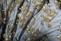 Gold Sequin Embroidered Floral Lace Fabric Wedding Table Cloth Photography Backdrop Wedding Table Runner