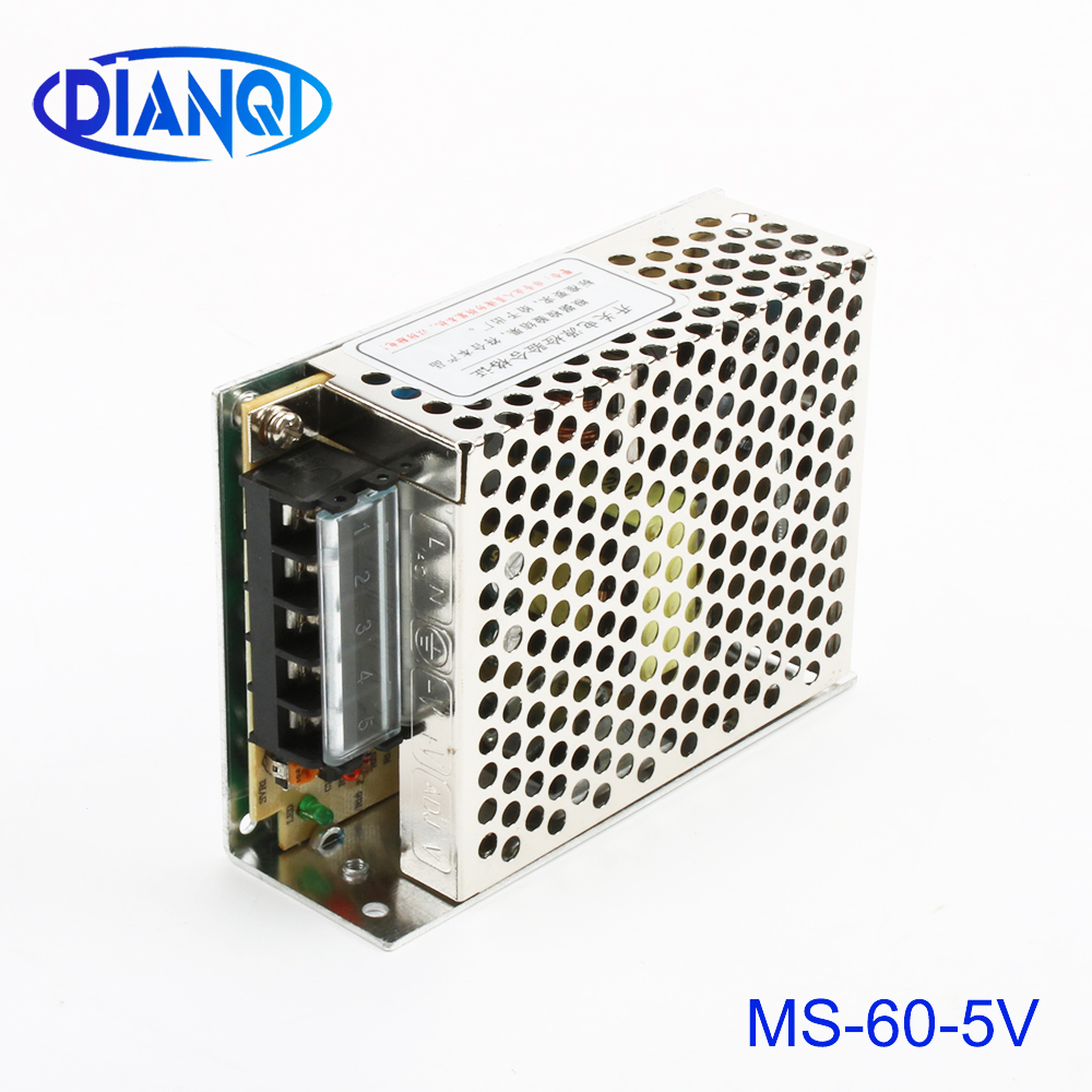 DIANQI power supply 60W 5V 12A mini size ac dc converter power supply unit ms-60-5 5v variable dc voltage regulator image