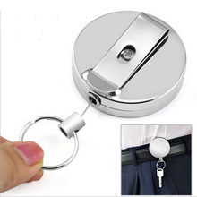 1PCS Retractable Metal Card Badge Steel Recoil Pull Belt Clip Silver Party Gift Key Chain Ring Party Favor Wineglass Keychain(China)