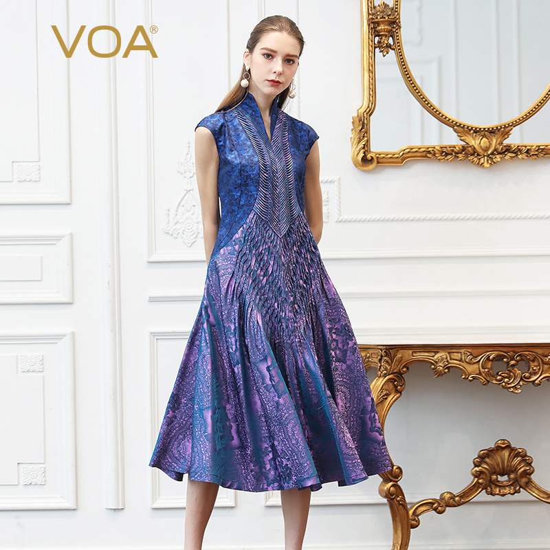 US $319.5 29% OFF|VOA Silk Jacquard Plus Size Dresses Women Vintage  Lavender Purple Slim Tunic Dress Slant Pocket Summer Print Short Sleeve  A332-in ...