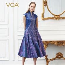 VOA Silk Jacquard Plus Size Dresses Women Vintage Lavender Purple Slim Tunic Dress Slant Pocket Summer Print Short Sleeve A332