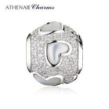 Женский серебряный браслет с перламутром и фианитом
