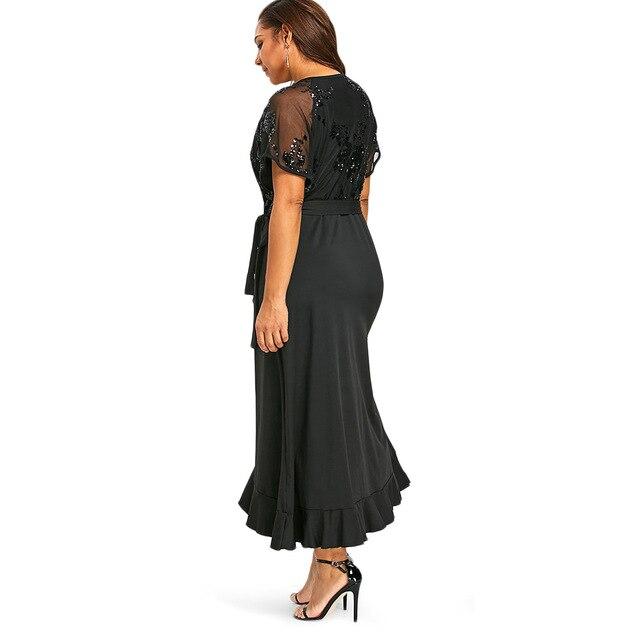 Gamiss Plus Size Sequins Belted Maxi Dress 2018 Women Summer Dresses Short  Sleeve V-Neck Elegant High Waist Party Dress 5XL free shipping worldwide 950b2117b7b8