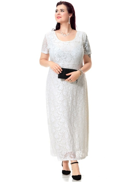 Plus Size Lace Evening Party Dresses Women Short Sleeve Sexy Casual