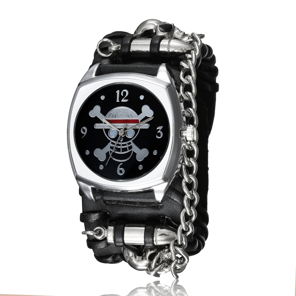 Fashion Black Leather Band Skull Skeleton Bullet Chain Punk Rock Quartz Wrist Watch Square Dial  Retro Bracelet Men's Watch Gift mjartoria 2017 men punk skull watch student male cool leather belt sport quartz watch wrist watch quartzwatch punk rock clock