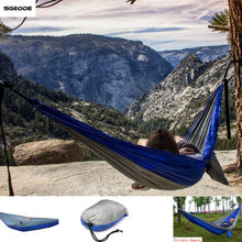 Portable Nylon Outdoor Camping Swing Fabric Hammock 2 Persons Travel Hanging Bed 270 x 140cm Portable Hammock Swing Bed(China)