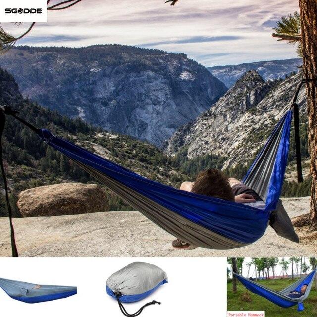 Tecido de Nylon portátil Acampamento Ao Ar Livre Balanço Rede 2 Pessoas Viagem Hanging Bed 270x140 cm Portátil Rede Cama Balanço
