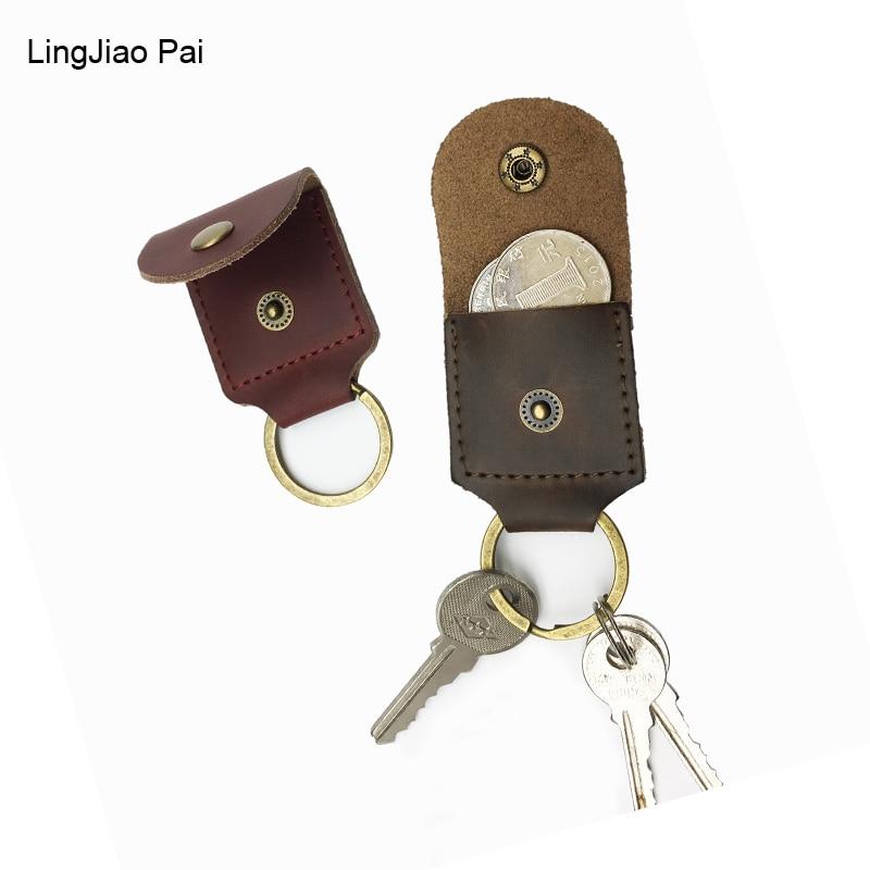 LingJiao Pai Luxury Unisex Door Car Key Genuine Leather Keychain Holder Bag Coin Purse Key Wallet Case