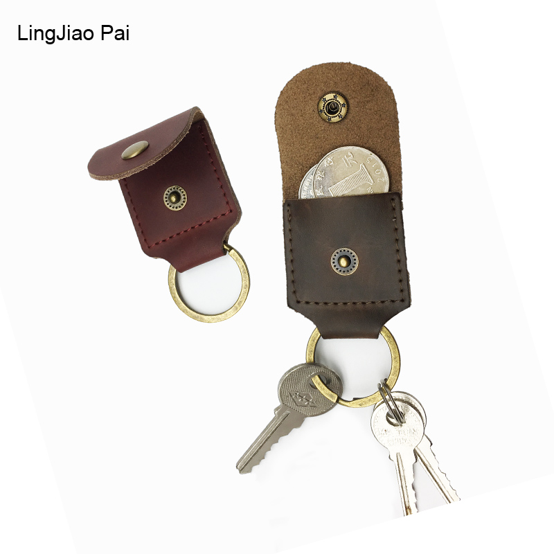 LingJiao Pai Luxury Unisex Door Car Key Genuine Leather Keychain Holder Bag Coin Purse Key Wallet Case