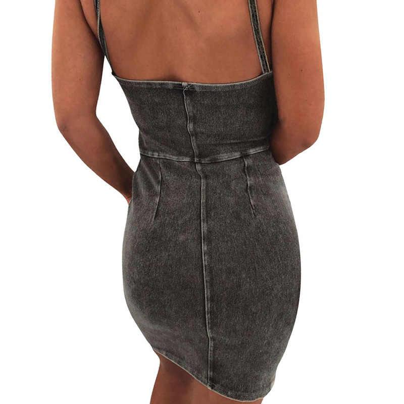 Модное женское джинсовое прилегающее платье без рукавов с v-образным вырезом, с открытой спиной, на бретельках, джинсовое платье, вечерние, облегающее повседневное мини-платье