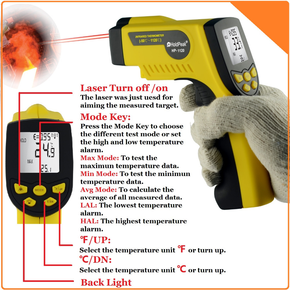 HoldPeak HP-1120 Digital Infrared Thermometer Non Contact Temperature Thermometer Gun Laser -50--1120'C / -58'F---2048'F