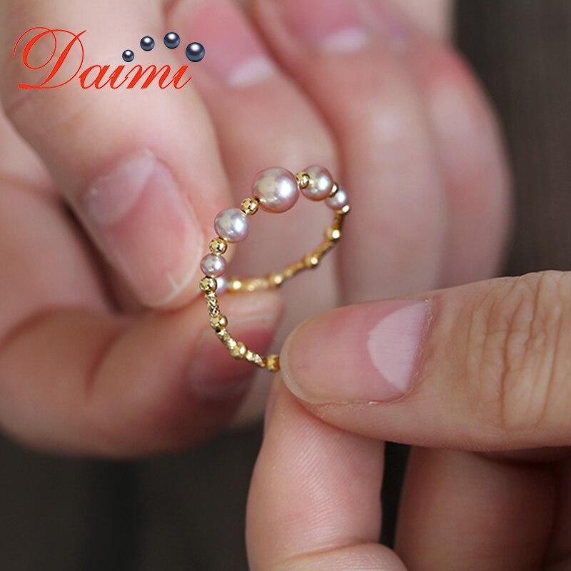 Delikatny perłowy pierścionek DAIMI 18K pierścionek z żółtego złota regulowany 5 5.5mm różowy fioletowy kolor idealnie okrągły pierścionek z perłą w Pierścionki od Biżuteria i akcesoria na  Grupa 3
