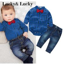 New blue plaid rompers shirts with red bow+jeans baby boys clothes bebe clothing set