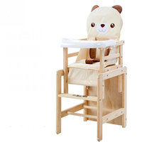 Solid Pine Wood Baby Dining High Chair ,Adjustable Folding Portable Chair For Baby Within 6 Years Old