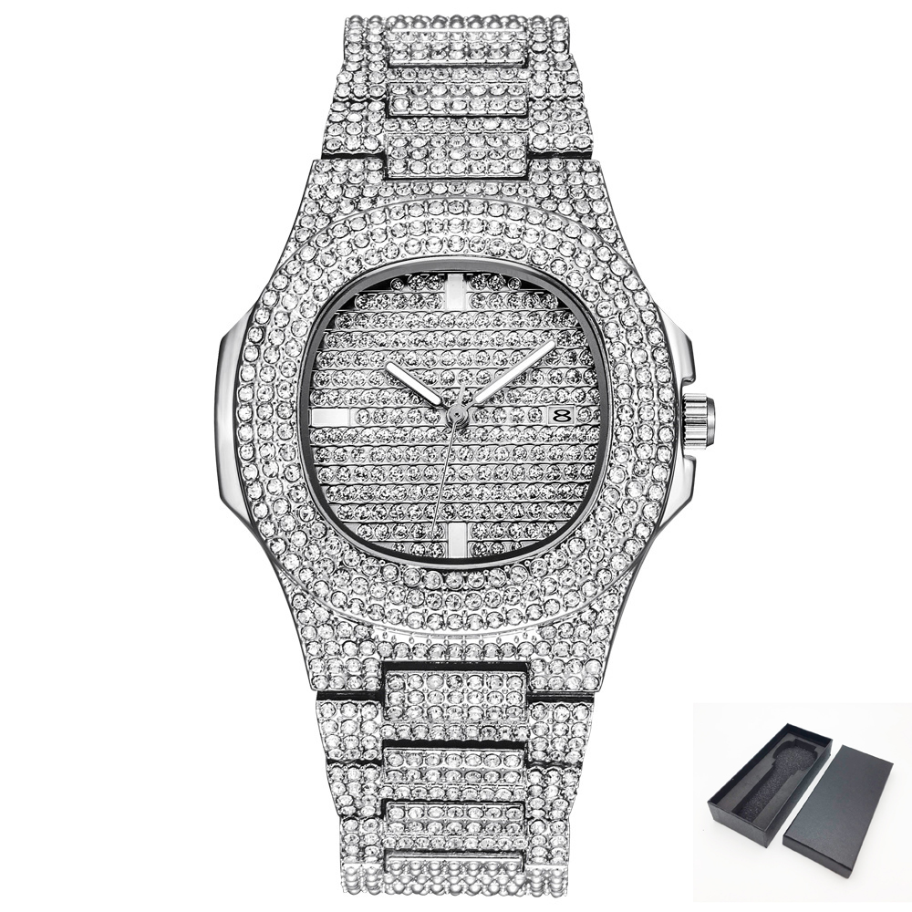 Hip Hop Quartz Watch For Men Bling Diamond Womens Wrist Watches Female Silver Tone Steel Band Relogio Masculino Ladies Gift 2019