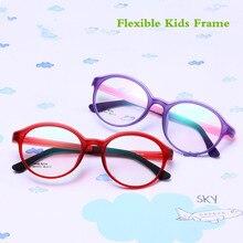 TR90 силиконовая Гибкая оправа для детских очков для мальчиков и девочек, милая оптическая близорукость, прозрачные брендовые Детские очки в оправе, матовые очки