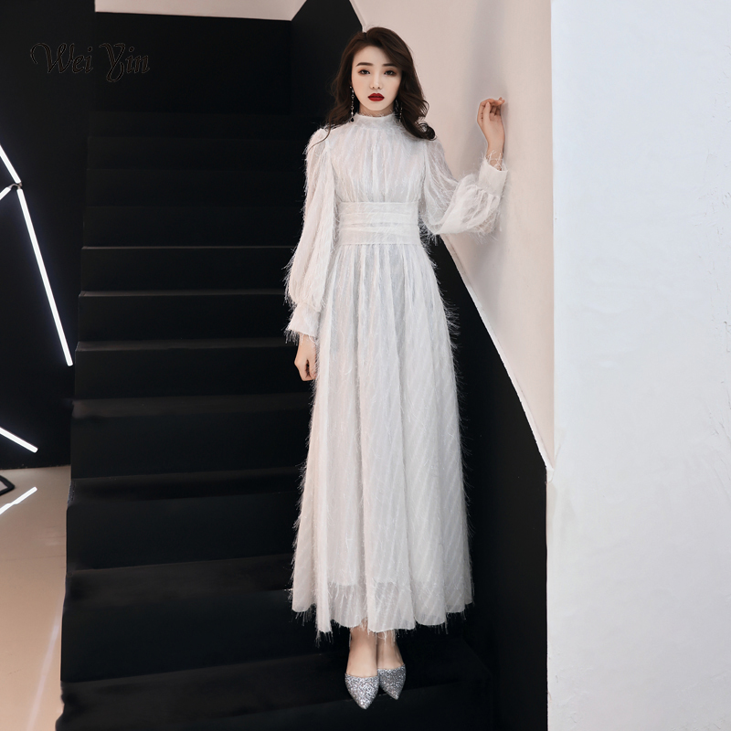 Weiyin 2020 New White Real Photo A-Line High Collar Formal Prom Dresses Long Sleeve Sexy Womens Evening Gowns WY1510