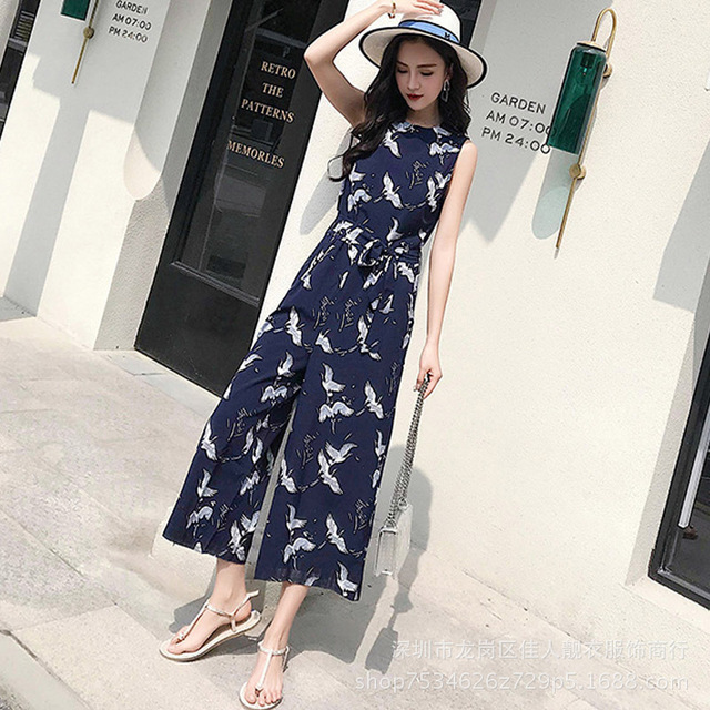 4bc2d84c1c 2018 Women Chiffon Crane Print Jumpsuit Floral Pockets Sleeveless Pleated  Rompers Ladies Vintage Casual Jumpsuits Summer