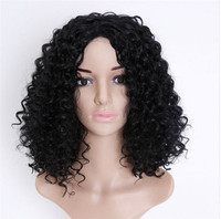 2018 New Women Hair Accessories Headwear Black Synthetic Wig Long Curly Curls Afro African American Wigs