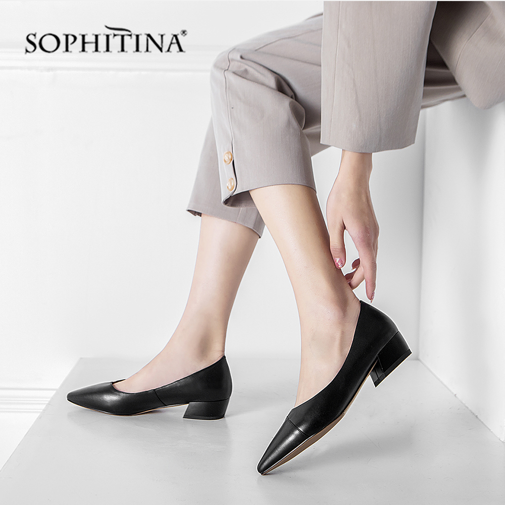 SOPHITINA Fashion New Pumps Med Square Heel High Quality Cow Leather Sexy Pointed Toe Shoes Woman