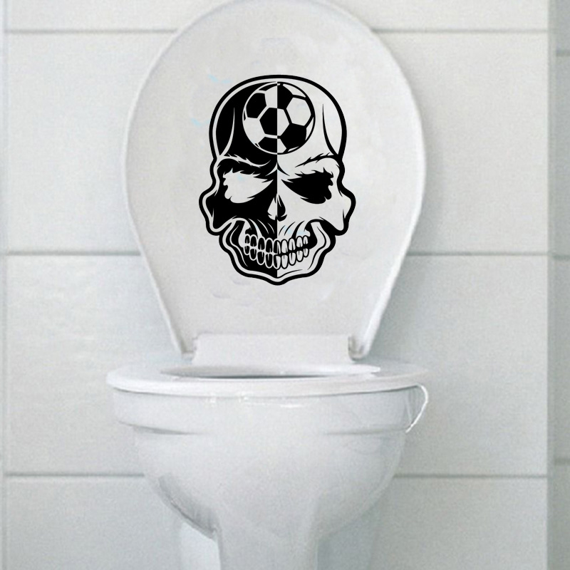 Soccer Ball Skull Boy Fashion Bathroom Home Decor Wall Toilet Stickers Decals 6ws0135 China