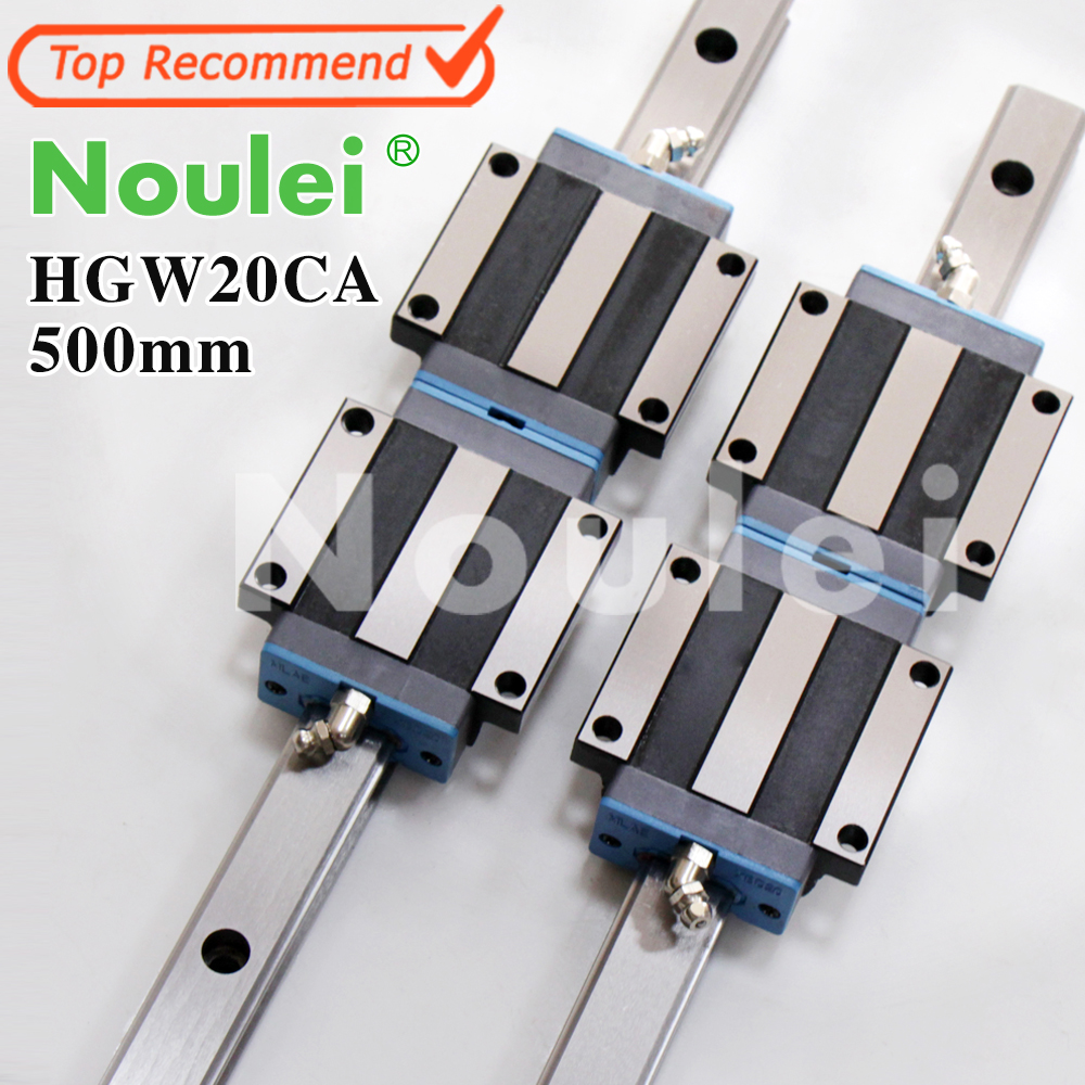 Noulei HGW20CA slide block with linear guide rail 500mm HGR20 for CNC z axis HGW20 guia hig quality linear guide 1pcs trh25 length 1200mm linear guide rail 2pcs trh25b linear slide block for cnc part