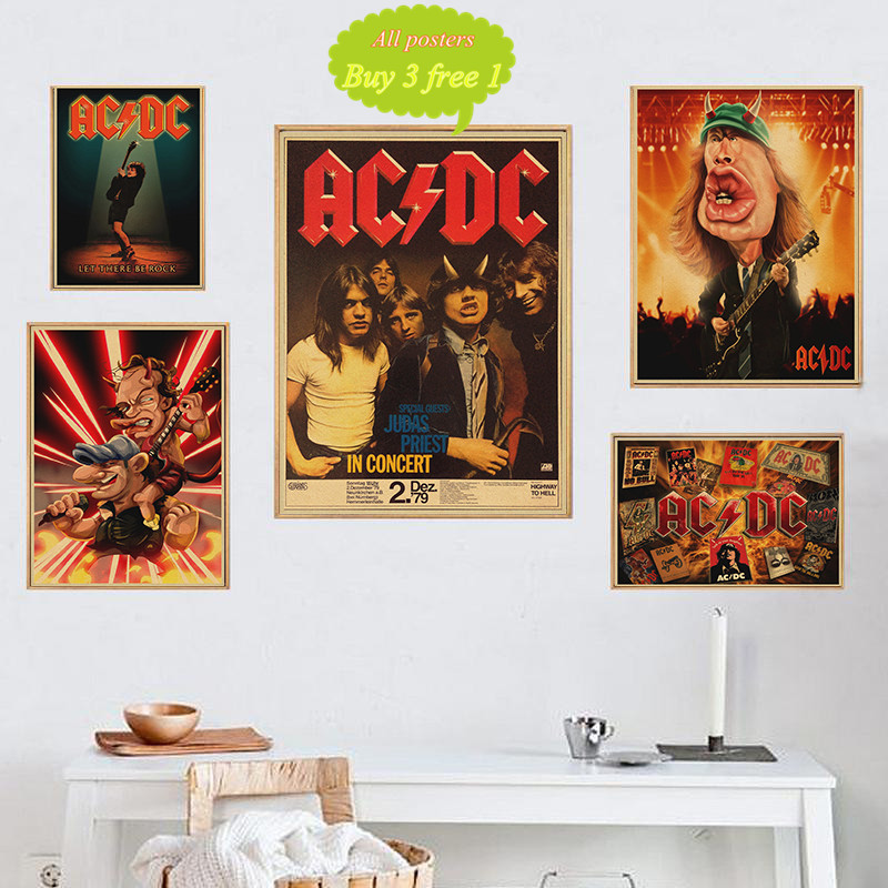 Rock Band ACDC Malcolm Angus Kraft Paper Vintage Poster Vintage Wall Sticker