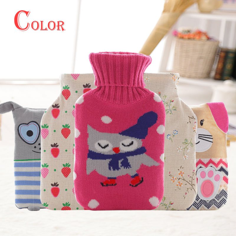 Lovely Cartoon Hot Water Bottle Bag Hand Warmer 600ml Capacity Rubber Water-filling Hot-water Detachable Cover Guatero  -  CHINA XIN LI YUAN STORE store