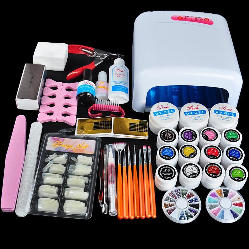 Biutee 36 W UV GEL rose lampe & 12 couleurs UV Gel faux ongles conseils Cutter Nail Art bricolage Kits d'outils ensembles