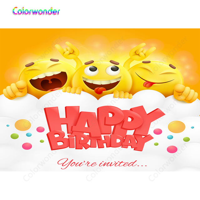 Colorwonder Smile Emoji Birthday Backdrop For Photography 7x5ft Red Happy Banner Kids Personalized Background