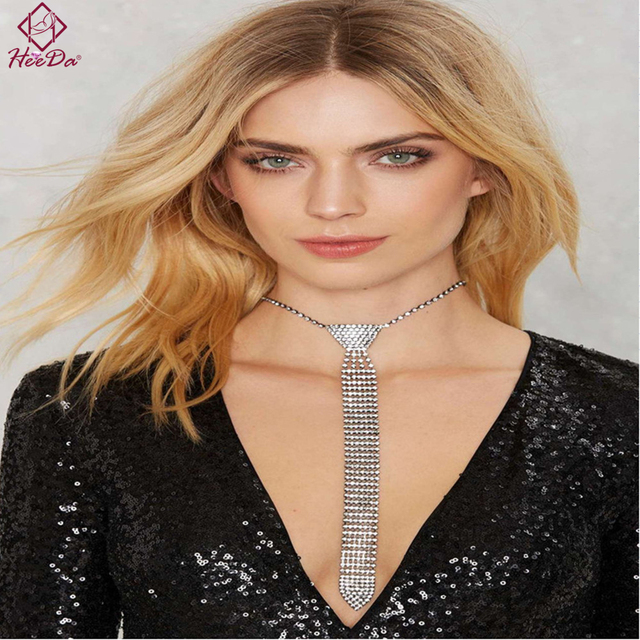 2018 New Kpop Creative Necktie Necklace Retro Rhinestone Sweater Chain Fashion Big Name Kolye Joker Women Good Mothers Day Gifts