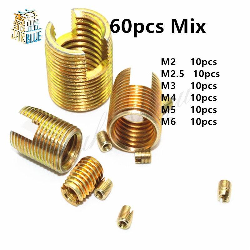 10Pcs M2 M2.5 M3 M4 M5 M6 M8 M10 Galvanized Self Tapping insert Screw Bushing 302 Slotted Type Wire Thread Insert Nut Repair цена