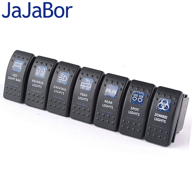 jajabor 7pcs lot luxury switch with led indicator light bar arb carling rocker toggle switch. Black Bedroom Furniture Sets. Home Design Ideas