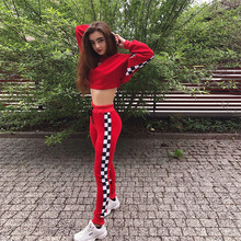 2 Piece Set Women Clothes Set Sexy Plaid tracksuit 2018 Sweatshirt Two Piece Set Clothes Crop Top Fashion Hoodies Set Streetwear