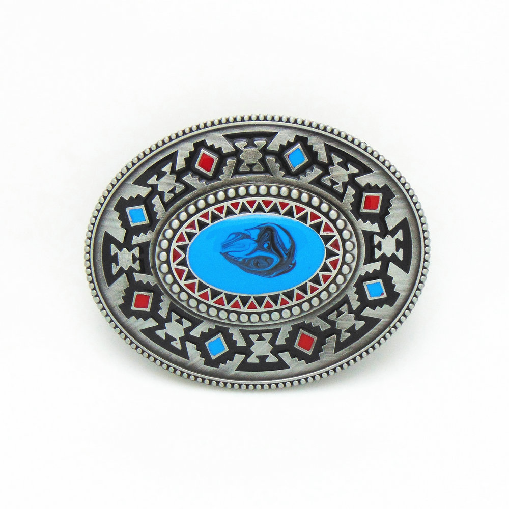 Western Cowboy Belt Buckle Retro Pattern Turkey Blue Drop Zinc Alloy Belt Buckle For 3.8 Belt Men Smooth Buckle