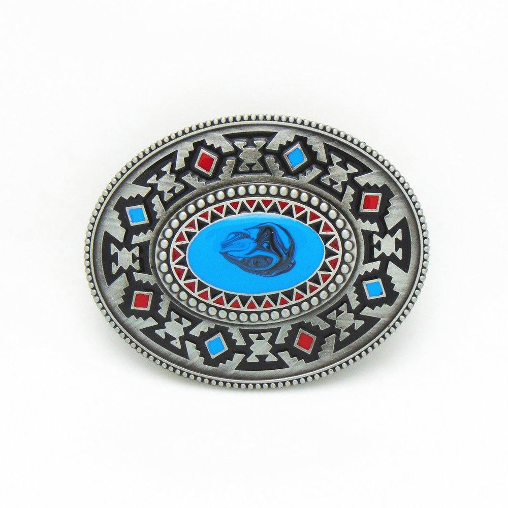 Western Cowboy Belt Buckle Retro Pattern Turkey Blue Drop Zinc Alloy Belt Buckle For 3.8 Belt Men Smooth Buckle