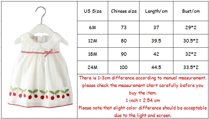 Baby Girls Clothes New Summer Baby Dresses Cherries Embroidery Baby Dresses Newborn Girls Party Princess Dress 0-2Y