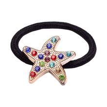 Boutique Women Girls Cute Starfish Rubber Band Hair Ties Colored Faux Crystal Rhinestone Ponytail Holder Casual Party Bracelet chic rhinestone faux gemstone bracelet for women