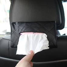 PU Leather Coche Car Tissue Box Towel Napkin Papers Container Car Sun Visor Hanging Back Hanging Napkin Holder Universal